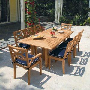 Set Meja Makan Jati Minimalis Outdoor